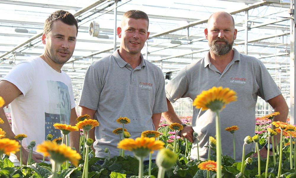 Gerberatelers Ruud Batist (links), Erik van de Lans en Aad van Veen (rechts) van Colours of Nature.