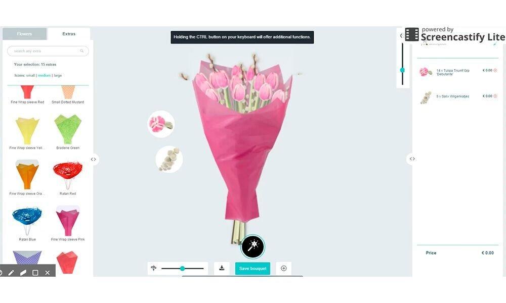 Van digitale, driedimensionale foto's van bloemen zijn digitale boeketten samen te stellen