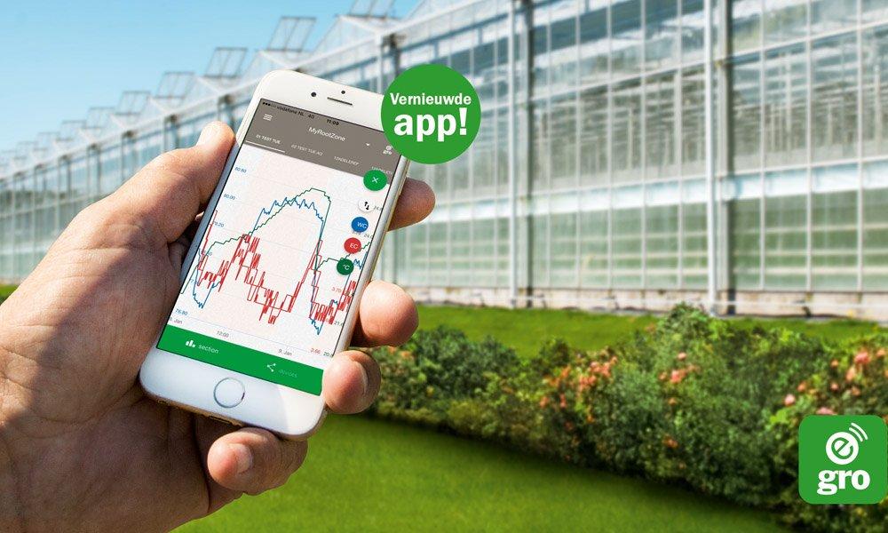 De e-Gro app van Grodan is een nieuwe service om klanten met een MultiSensor systeem nog beter te kunnen ondersteunen.