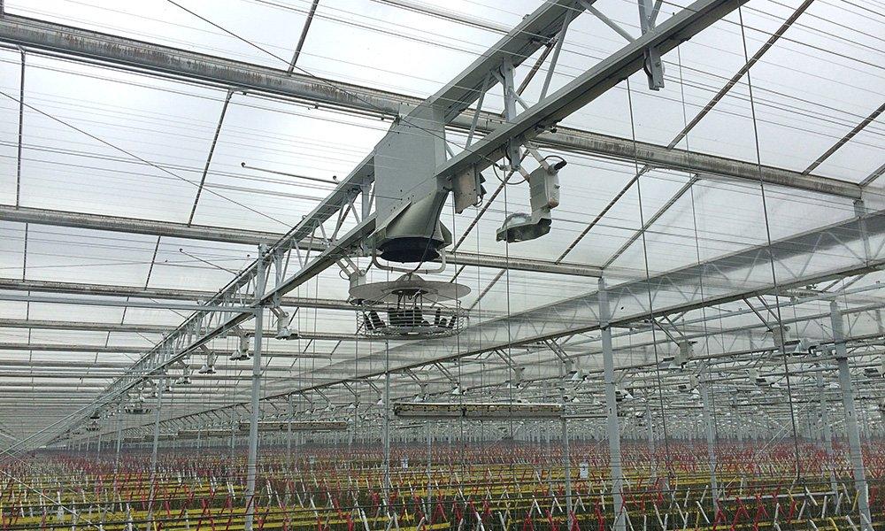 Metingen wijzen uit dat het goed mogelijk is om in de herfst te belichten met gesloten verduisteringsscherm met inzet van dubbele ventilatoren.