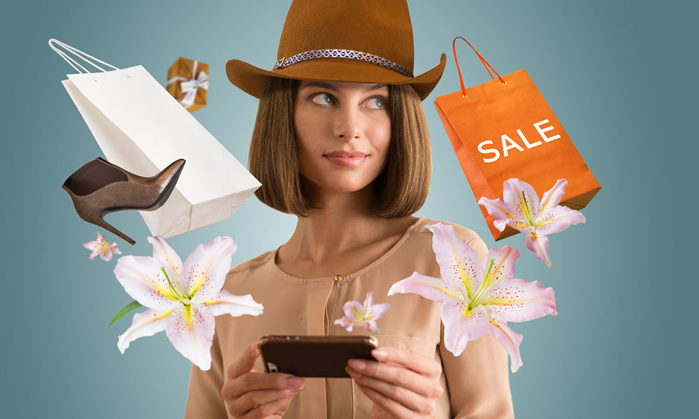 vrouw koopt bloemen met smartphone