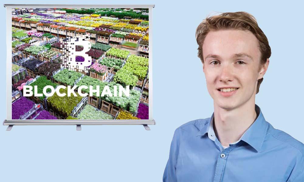 Tim Timmermans houdt een presentatie over blockchain binnen de sierteelt