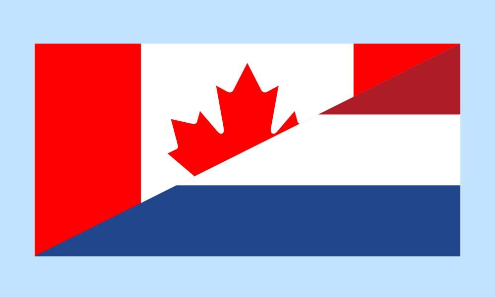 De Canadese en Nederlandse vlag gecombineerd. Bedrijven uit Canada kunnen voedingswaren die bewerkt zijn met Crispr-Cas naar Nederland importeren zonder dat dit duidelijk is.